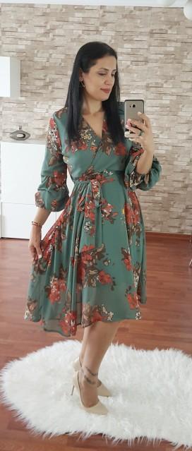 Kruvaze Şifon Elbise - HAKİ
