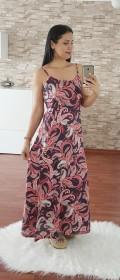 Askılı Çiçek Desen Uzun Elbise - LACİVERT