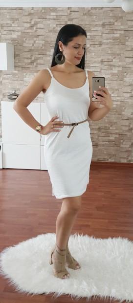 Kemerli Askılı Kısa Elbise - BEYAZ