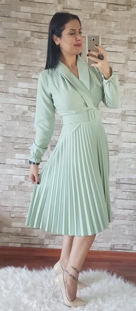 Ceket Yaka Piliseli Kemerli Elbise - MİNT
