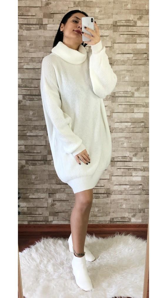 Degaje Yaka Yumoş Kazak Elbise - BEYAZ