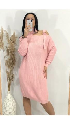 Tokalı Düşük Omuz Kazak Elbise - PUDRA