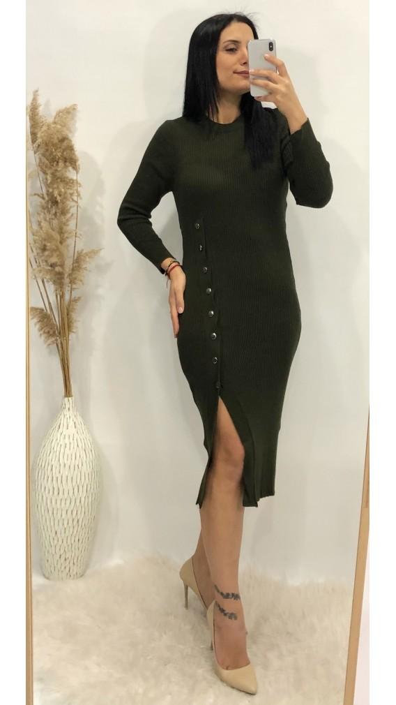 Yandan Düğmeli Triko Elbise - HAKİ