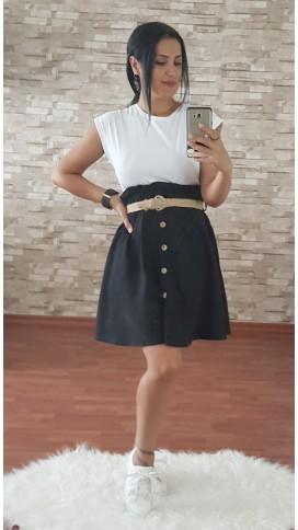 Tişört Etek Görünümlü Elbise - SİYAH