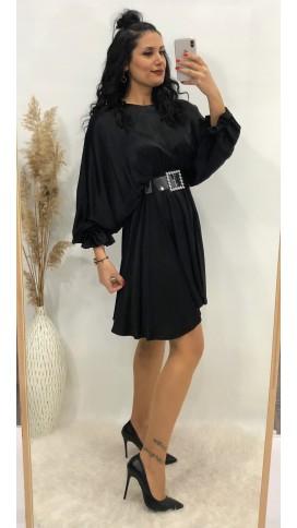 Yarasa Kol Volan Saten Elbise - SİYAH