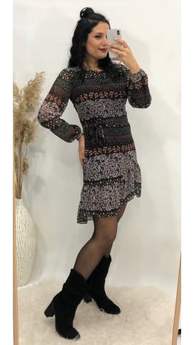 Çıtır Desen Şifon Elbise - LİLA