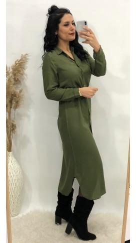Gömlek Elbise - HAKİ