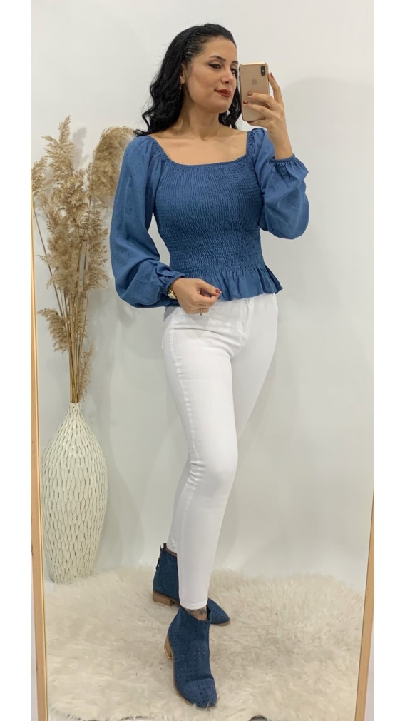 Yüksek Bel Likralı Skinny Jean - BEYAZ