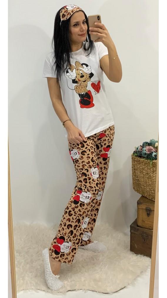 Minnie Üçlü Pijama Takımı - LEOPAR