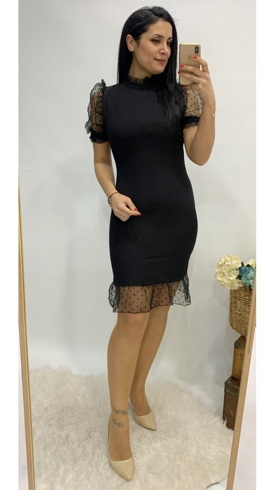 Tül Karpuz Kol Mini Elbise - SİYAH