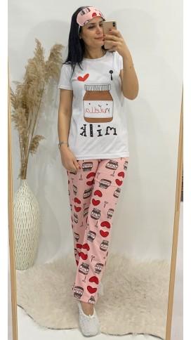 Nutella Üçlü Pijama Takımı - BEYAZ
