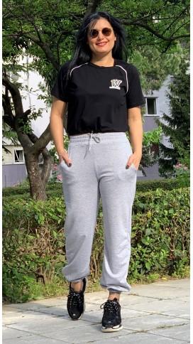 W Baskılı Beli Lastikli Tshirt - SİYAH