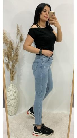Yüksek Bel Likralı Skinny Jean - BUZ MAVİ