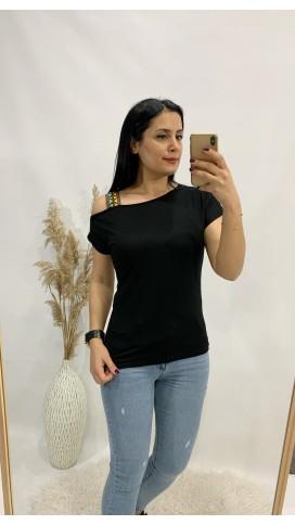 Etnik Askılı Tişört - SİYAH