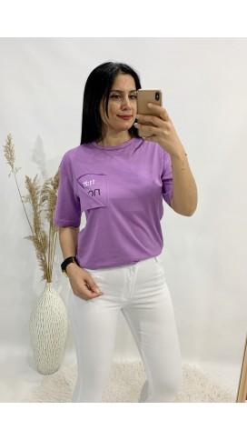 Sırt Yazılı Tişört - LİLA