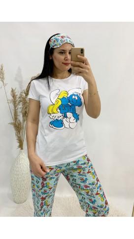 Şirinler Pijama Takımı - MAVİ