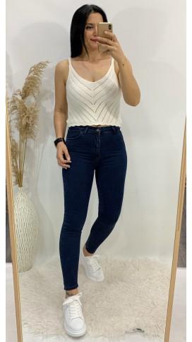 Yüksek Bel Likralı Skinny Jean - LACİVERT