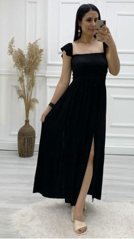 Çift Yırtmaçlı Uzun Elbise - SİYAH