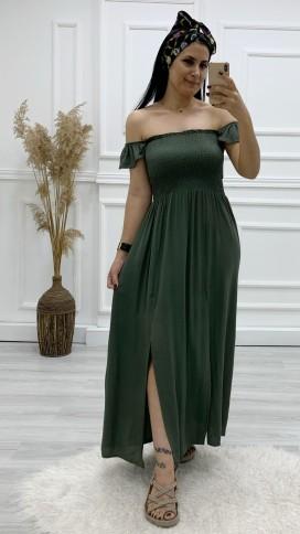Çift Yırtmaçlı Uzun Elbise - HAKİ