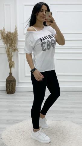 Asimetrik Düşük Omuz Tshirt - BEYAZ