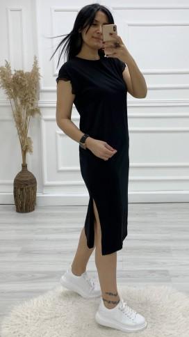 Dantel Kol Yırtmaçlı Elbise - SİYAH