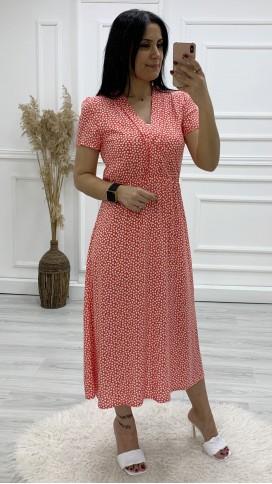 Ceket Yaka Çıtır Desen Elbise - NAR ÇİÇEĞİ