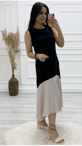 Kolsuz Önü Kısa Arkası Uzun Elbise - SİYAH