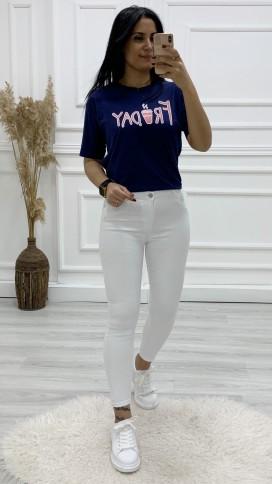 Friday Baskılı Tshirt - LACİVERT