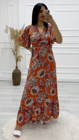 Kruvaze Yaka Çiçek Uzun Elbise - KİREMİT