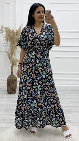 Kruvaze Yaka Çiçek Uzun Elbise - SİYAH