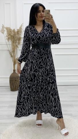 Deri Kemerli Gömlek Elbise - SİYAH