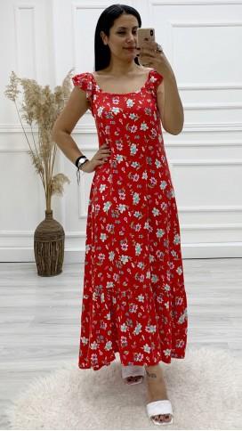 Fırfır Askılı Çiçek Uzun Elbise - KIRMIZI