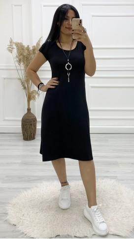Sırt Detay Spor Volan Elbise - SİYAH