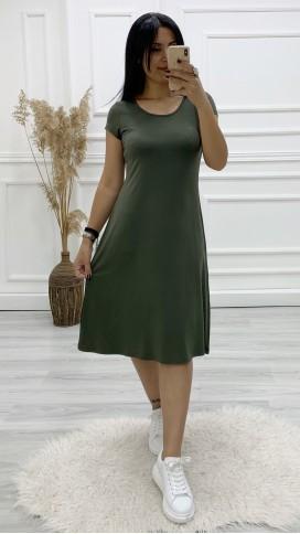 Sırt Detay Spor Volan Elbise - HAKİ