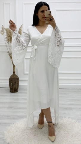 Güpür Kol Kruvaze Asimetri Elbise - BEYAZ