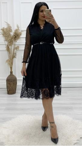 Kruvaze Midi Dantel Elbise - SİYAH