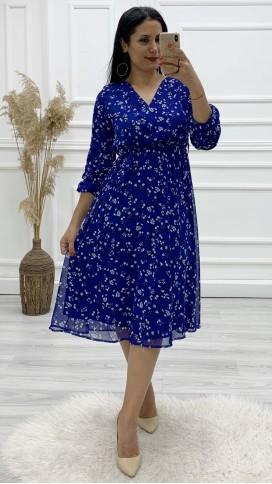 Kol Büzgülü Kruvaze Şifon Elbise - SAKS MAVİ