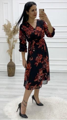 Kol Büzgülü Kruvaze Şifon Elbise - SİYAH