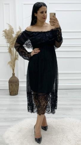Madonna Yaka Dantel Elbise - SİYAH