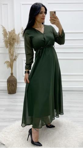 Şifon Astarlı Uzun Elbise - HAKİ