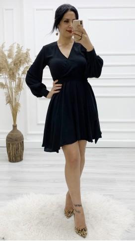 Kruvaze Bel Kuşaklı Volan Elbise - SİYAH