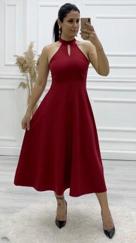 Kolsuz Volan Midi Elbise - BORDO