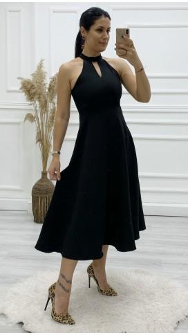 Kolsuz Volan Midi Elbise - SİYAH