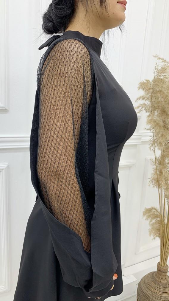 Balon Tül Kol Volan Mini Elbise - SİYAH