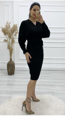 Önü Arkası Kruvaze Yün Elbise - SİYAH