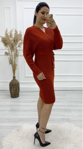 Önü Arkası Kruvaze Yün Elbise - KİREMİT