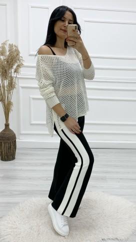 Yanı Çizgili Triko Pantolon - SİYAH