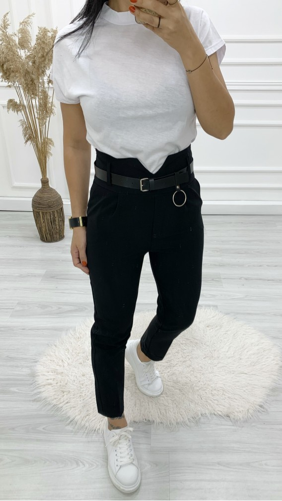 Yüksek Bel Kemerli Havuç Pantolon - SİYAH