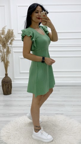 Kol FırFır Triko Elbise - MİNT