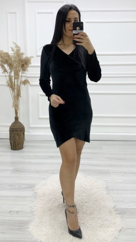 Kadife Mini Elbise - SİYAH